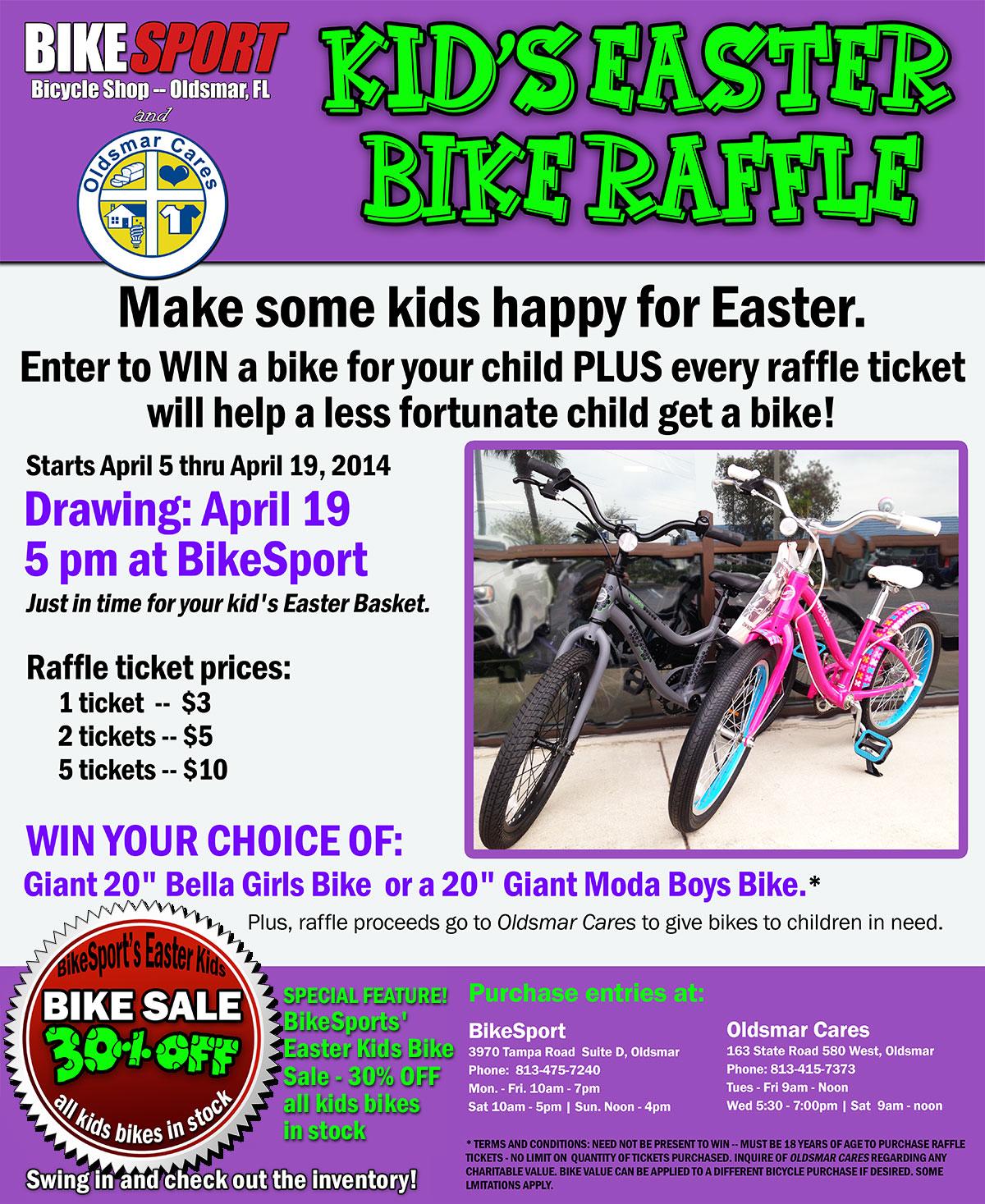 Kids Easter Bike Raffle and 30% Off Sale at Bike Sport